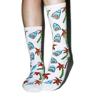HUF x Anne Freeman Shark Attack White Crew Socks